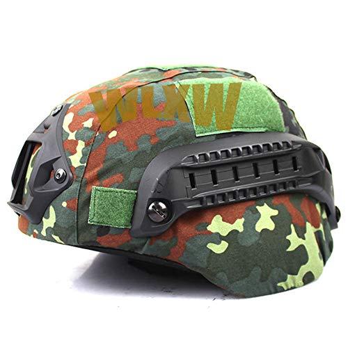 WLXW Airsoft Mich 2000 Tactical Helm Mit Camouflage Helmhaube NVG Halterung Und Seitengitter, Paintball Explosionsgeschützter Jagdhelm, CS Field Outdoor Ausrüstung,E,WithHelmet