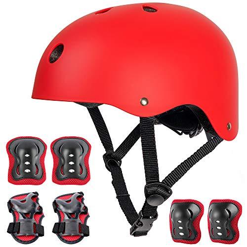 arteesol Kinderhelm, Skaterhelm Verstellbar Fahrradhelm Rollerhelm, CE-Zertifizierung Schutzhelm für Kinder BMX Skateboard Fahrrad Bike Scooter, für Jungen und Mädchen (red Set)