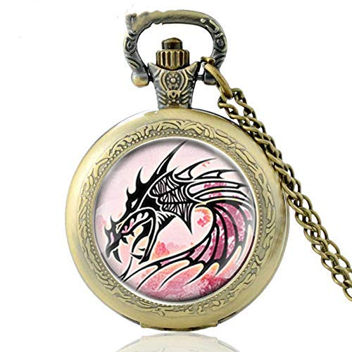 DIHAO Reloj de Bolsillo de Cuarzo con dragón de Bronce clásico, Relojes de Collar con Colgante de dragón Punk para Hombres y Mujeres