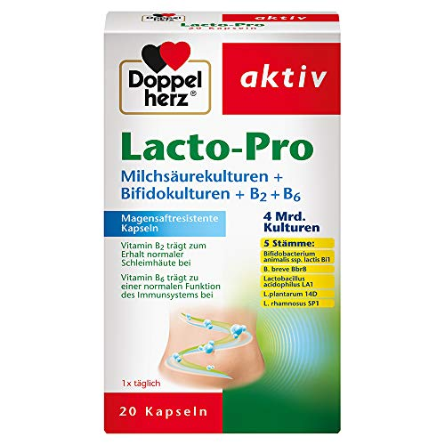 Doppelherz Lacto-Pro Milchsäurekulturen + Bifidokulturen + B2 + B6 – Magensaftresistente Kapseln – 1x 20 Kapseln