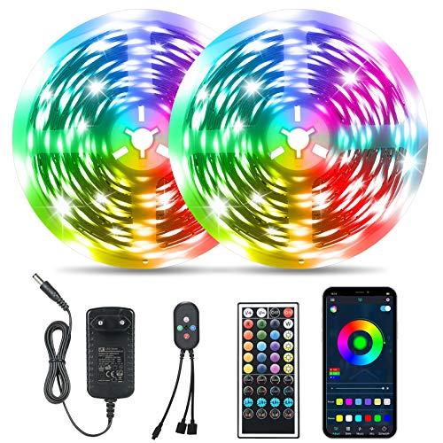 20M Bluetooth Tiras RGB 5050, Tomshine 360LEDs Tiras de Luces ,Control Remoto/APP Control,Sincronización de música Bluetooth,Luces Led que cambia de color Decoracion para el Hogar,Cocina,Navidad