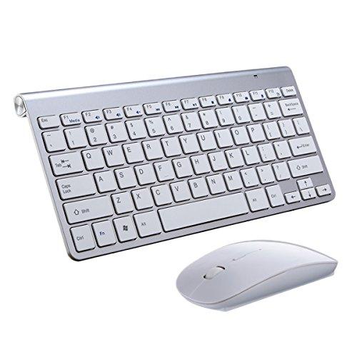 Kabelloses Tastatur und Maus Set,KINGCOO Geräuscharme ultradünne Mini 2.4G Wireless Desktop Kabeltastatur und Einstellbare 800/1200/1600 DPI Mouse Combo fürLaptop Tablet und Smart TV (Silber)