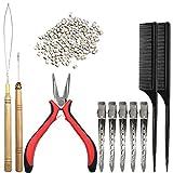 Kit di estensione dei capelli, kit di pinze DanziX per gancio a gancio 200 pezzi micro perline rivestite in silicone beige 2 pezzi pettini 5 pezzi perni di alligatore in metallo argento