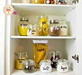 Juego de 30 pegatinas de vinilo esenciales para cocina, para el hogar, para alimentos, almuerzo, desayuno, organiza el hogar y el armario, tarros no incluidos (blanco)