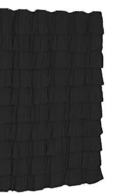 spring Home Ruffled Black Fabric Shower Curtain