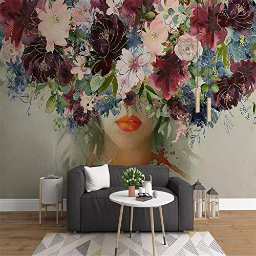 Fotobehang Muur Muralshand-Geschilderd Aquarel Schoonheid Rose Bloem Muur Professionele Productie Mural Wallpaper Groothandel Aangepaste Poster Photo Wall About 200*140cm 2 stripes