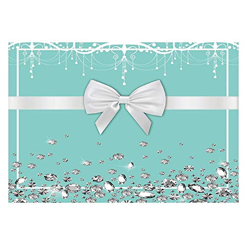 Funnytree 7X5ft Bowknot Blue Backdrop Turquoise Bow Diamonds Sweet 16 Birthday Party Background Bridal Shower Wedding Dessert Cake Table Decorations Photo Booth Banner