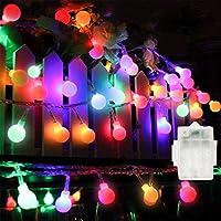 LEDストリングライト ガーランド 電飾 フェアリーライト 裝飾ライト クリスマスツリー ライト 防雨型 PC素材 ledに適してベッドルーム アウトドア 結婚式 庭 誕生日 街路樹 リモコンUSB式/電池式 5M 50個LED (電球色)