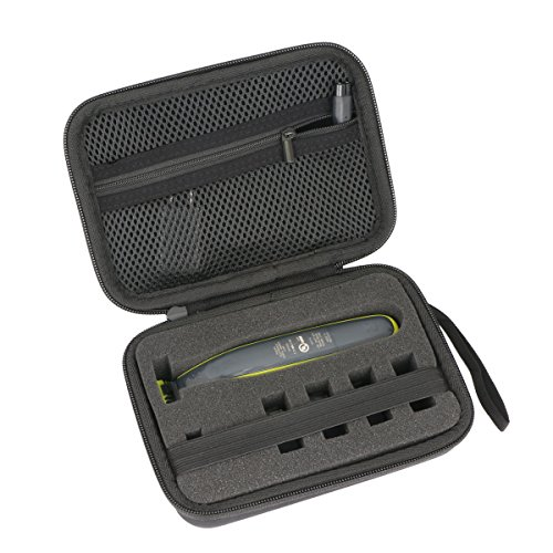 co2CREA Hart Reise Schutz Hülle Etui Tasche für Philips One Blade Rasierer QP2520 QP2530 QP2620 QP2630 Bartschneider (Schwamm)