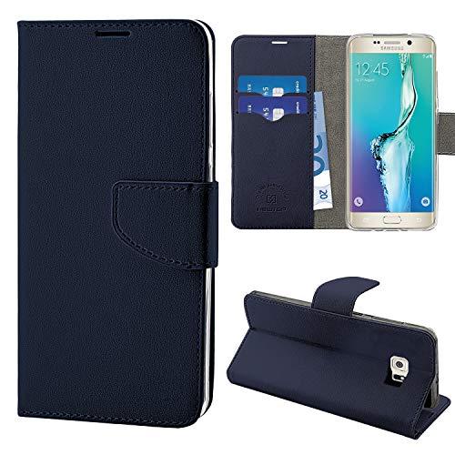N NEWTOP Cover Compatibile per Samsung Galaxy S6 Edge, HQ Lateral Custodia Libro Flip Chiusura Magnetica Portafoglio Simil Pelle Stand (Blu)