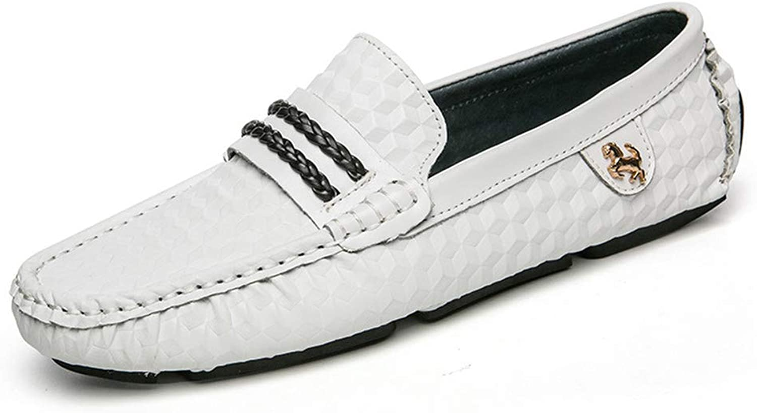 Men's shoes Spring new Loafers Breathable Comfort Driving shoes Office & Career,White,44