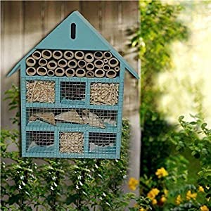 Gr8 Garden LG-YLK3010 Wooden Large Blue Insect Bugs Garden Hanging Hotel Home Bees Ladybird NEST Box House