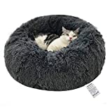 WEASHUME Calming Dog Cat Bed 50/70/85/100/120cm Plush Donut for Large Medium Small Dog Cat Calming Anxiety Relief Fluffy Soft Cuddler Round Pet Nest Orthopedic Relief Anti-Slip Dark Grey S