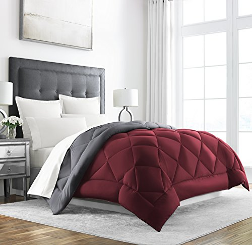 Sleep Restoration Down Alternative Comforter - Reversible - All-Season Hotel Quality Luxury Hypoallergenic Comforter -King/Cal King - Burgundy/Grey