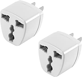 Cellet USA, Canada, Mexico, Japan Travel Plug Power Adapter – Round Pin (EU/UK/Korea/China/AU) to Flat (USA) Pin, 2 Pack, White