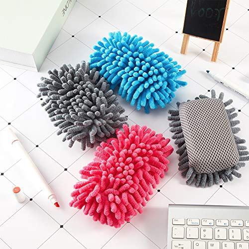 4 Pieces Microfiber Shag Whiteboard Eraser Washable Microfiber Shag Dry Erase Board Eraser for Markers, Chalk, Home, Classroom and Office (Gray, Blue and Pink) Photo #4