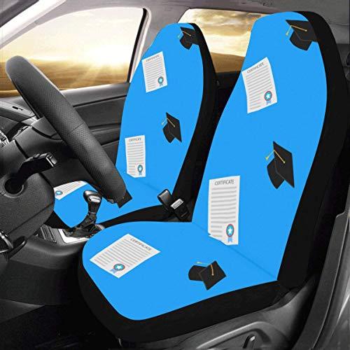 Alice Eva Funda de asiento pequeña Cute Cartoon Student Bachelor Hat Universal Fit Auto Car Seat Covers Protector