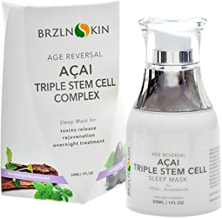 Acai Triple Stem Cell Overnight Face Mask Sleep Complex with Nourishing and Breathable Formula by BRZLNSKIN (1 Fluid Oz. Bottle)