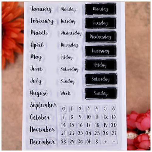 KWELLAM Palabras calendario semana mes enero diciembre lunes domingo números sellos transparentes para hacer tarjetas decoración y álbumes de recortes de bricolaje