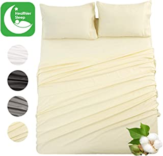 Abakan 100% Cotton Bed Sheet Set Queen Size 4 Piece Pure Natural Breathable Bedding Sheet Sets Ultra-Soft Luxury Hotel Deep Pocket Hypoallergenic, Wrinkle & Fade Resistant Sheets (Queen, Ivory)
