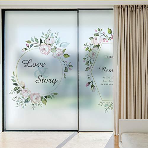 Djkaa glasfolie, zelfklevend, voor ramen, decoratief, vertrouwelijk, eenvoudige montage, afneembaar, PVC, ondoorzichtig 60*90cm(23.62*35.43 inch)