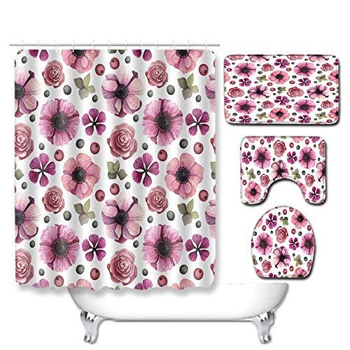 WEIFENG Außenhandel Fantasie Blumen Bad WC vierteilige Set Wohnzimmer Boden Schlafzimmer Teppich Fußmatte 8 50 * 80 cm + 180 * 180 cm