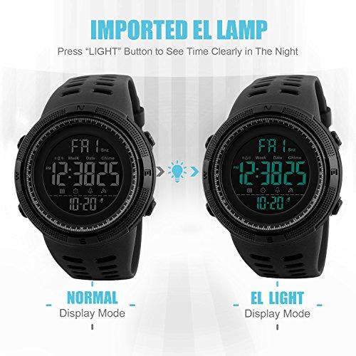 Herren Digital Sport Uhren – Outdoor wasserdichte Armbanduhr mit Wecker Chronograph und Countdown Uhr, LED Licht Gummi Schwarz große Anzeige Digitaluhrenfür Herren - 2