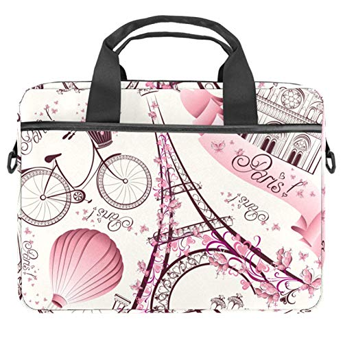13.4'-14.5' Laptop Case Notebook Cover Business Daily Use or Travel Paris Eiffel Tower Pink Retro Love Bike Hot Balloon