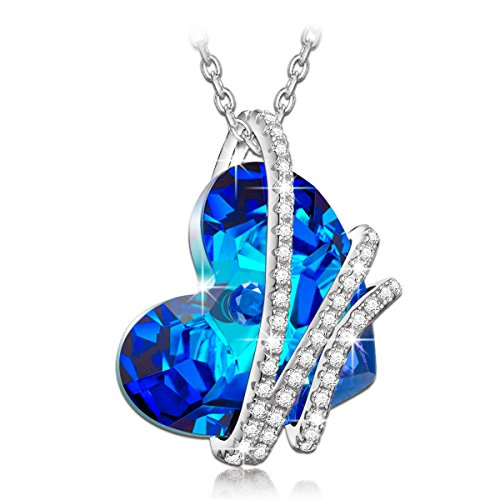 NinaQueen *Heart Of the Ocean* 925 Sterling Silver Pendant Necklace with Sterling Silver cable chain 2016 Paris Fashion Week Latest Heart Shape Design, Blue Sapphire SWAROVSKI ELEMENTS Women Jewelry, Symbol of Love Fine Necklace* *Ideal gift for your wife,Girlfriend,Mom and daughter on Birthday, Valentines day, Graduations, Mother's Day, Thanksgiving Day and Christmas Day **