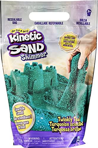 Kinetic Sand, zak met 907 g sprankelend blauwgroen, natuurlijk glinsterend zand om plat te drukken, te mengen en te…
