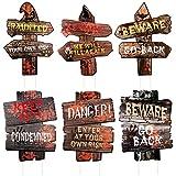 YiYa Halloween Dekorationsset - 6 Stck Halloween Hof Schilder Halloween Garten Schilder mit 12 Plastikpfähle für Halloween Party Haunted House Horror Party