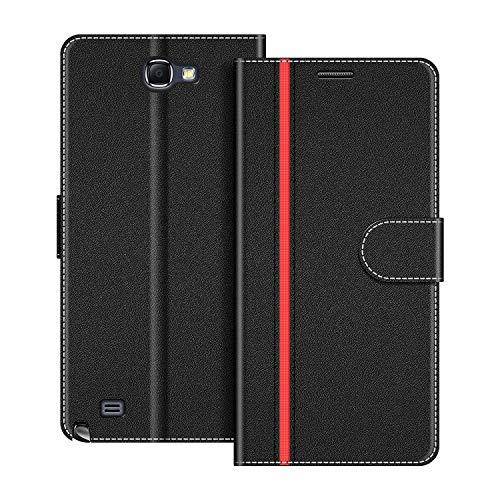 COODIO Funda Samsung Galaxy Note 2 con Tapa, Funda Movil Samsung Note 2, Funda Libro Galaxy Note 2 Carcasa Magnético Funda para Samsung Galaxy Note 2, Negro/Rojo