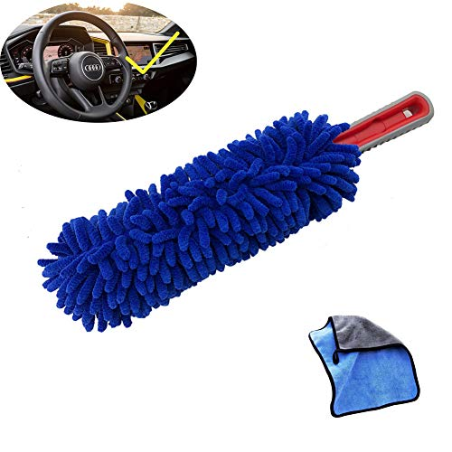 RCCT Car Dash Duster Cleaning Brush Kit Automotive Microfiber Vehicle Clean Care Multipurpose Soft Tool Best Interior Auto Accessories Surface Use Remover Dirt (Blue)