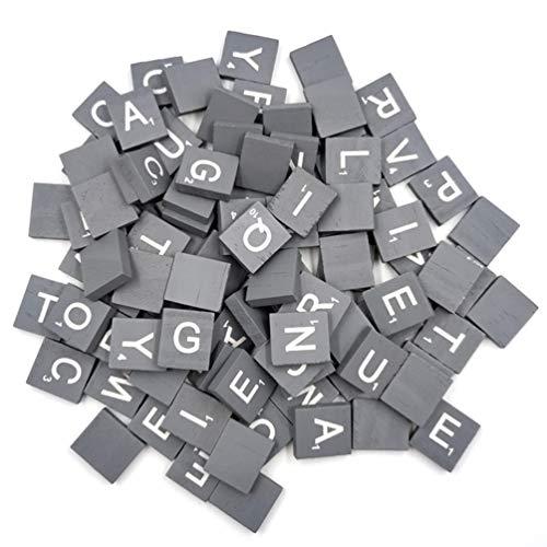 Healifty 100 stücke Holz Brief Fliesen Fliesen Alphabet großbuchstaben für Kinder DIY Handwerk rechtschreibung lernspielzeug (grau)