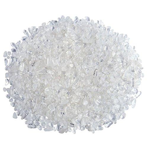 Jovivi 0.45lb Irregular Shaped Natural Clear White Quartz Rock Tumbled Chips Crushed Stone Healing Reiki Crystal Gemstones for Home Indoor Feng Shui Vases Decoration