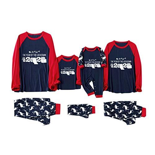 Dasongff Weihnachten Schlafanzug Familie Pyjama Set Lang Zweiteilig Hausanzug Winter...