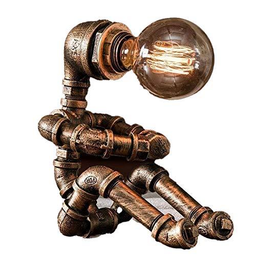 CZLWZZD Lámpara Mesa Robot de Pipa Agua Las Pipas de Agua de Hierro Forjado Vintage Lámpara de Mesa Creatividad Retro Industrial Iron Lámpara de Mesa para Restaurante Cafetería (Sin Bombilla)
