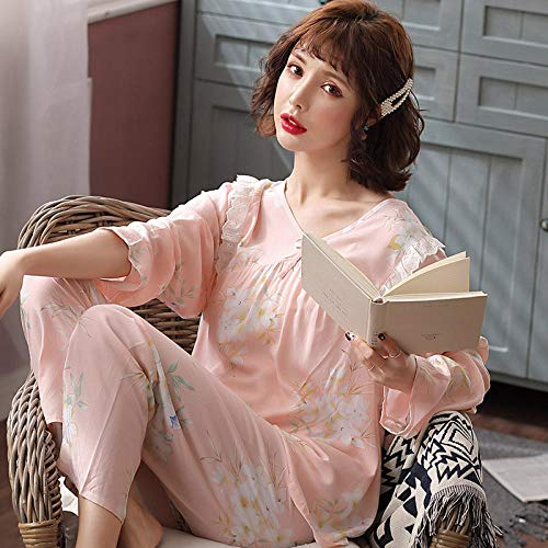 Cxypeng Conjuntos de salón Suave para Dormir,Traje de Pijama de algodón de Manga Larga para Mujer, Ropa de hogar Delgada y cómoda-XL_Pink,Ladies Comfy Pijamas Mujeres Soft