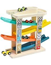 TOP BRIGHT Samochody zabawkowe dla dzieci w wieku 1 i 2 lat – z 4 mini samochodami – wysokiej jakości drewno bez BPA – wytrzymałe i pedagogiczne kole wyścigowe – kolorowe i zabawne