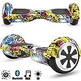 Magic Vida Skateboard Électrique Bluetooth 6.5 Pouces Hiphop avec LED Gyropode Smart Scooter Multicolor Auto-Équilibrage pour Enfants et Adultes,Sac de Transport et Télécommande offerts