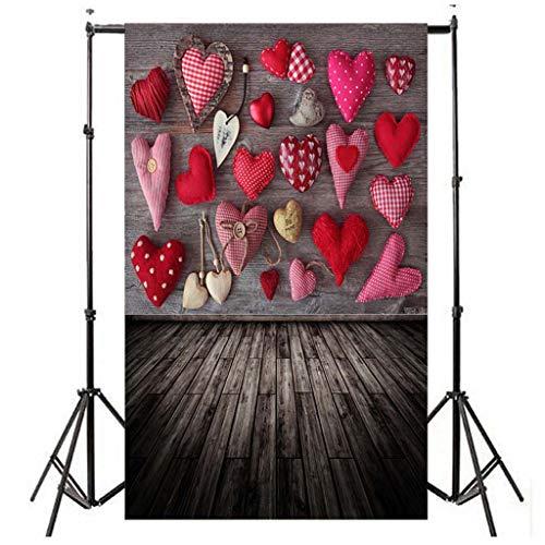Hintergrund FORH Liebes Herz Fotografie Hintergrund Vinylfoto Stützen Geschenk des Valentinstags für Portrait, Produkt Fotografie und Videoaufnahme (C)