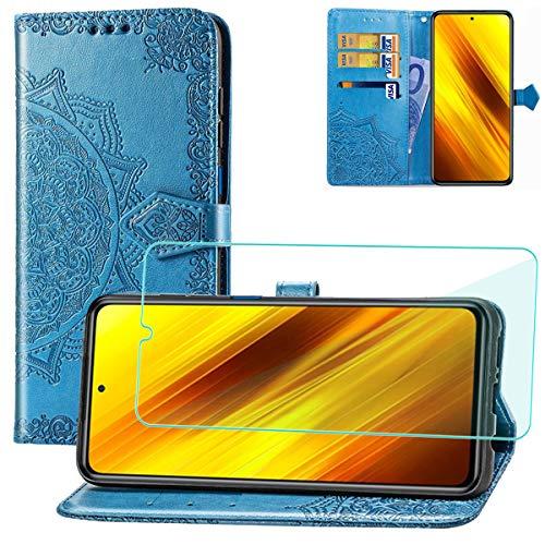 Yohii Funda para Xiaomi Poco X3 Pro/Xiaomi Poco X3 NFC + Protector de Pantalla, Libro Caso Piel PU Soporte Plegable Ranuras Cartera con Tapa Tarjetas Magnético Cuero Flip Carcasas - Azul