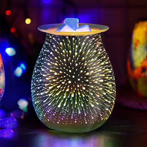 JUMKEET Glass Oil Burner Electric Wax Melt Burner, Candle Warmer Melter Essential Oil Fragrance Burner, Night Light Aroma Decorative Lamp for Home Office Bedroom Living Room Gift - 3D Starburst Design