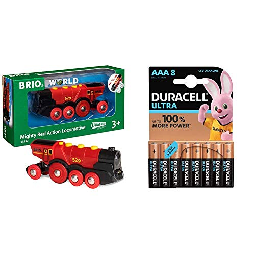 BRIO World - Mighty Red Action Locomotive with Duracell Ultra Power AAA Batteries, Pack of 8