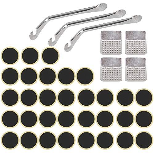 minifinker Herramienta de reparación de pinchazos de Bicicleta compacta, 4 Parches de llanta de raspa de Metal sin Pegamento Adicional, portátil, para la mayoría de Las Llantas de Bicicleta y