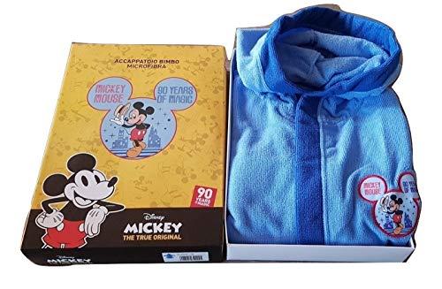 Hermet - Albornoz para niño de Mickey Mouse, microfibra, color celeste, tallas 3/4-5/6-7/8 años (5/6 años)