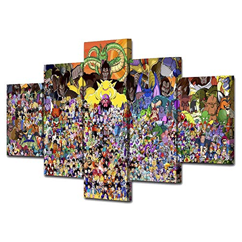 FJLOVE Impresión Cuadro en Lienzo Juego de Roles de Dragon Ball Composición de 5 Piezas Cuadros Póster para Pared Decoración,Frameless+D,100x55cm