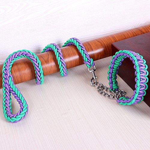 unihubys Heavy Duty Hund Martingal geflochten Halsband, die Solide handgefertigt Seil Leine für kleine/mittlere/große Hunde, Agility, Verhalten gehorcht Training und Alltag Walk