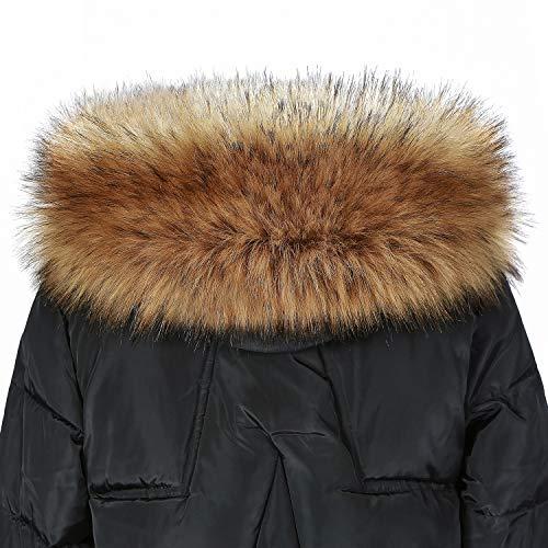 Jeracol Pelzkragen Kunstpelz Pelzschal Waschbär Fellkragen Kapuzen Winter Schal für WinterMantel Jacke mit Tasten 75 * 15cm