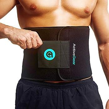 ActiveGear Waist Trimmer Belt for Stomach and Back Lumbar Support Large  9  x 46  - Blue